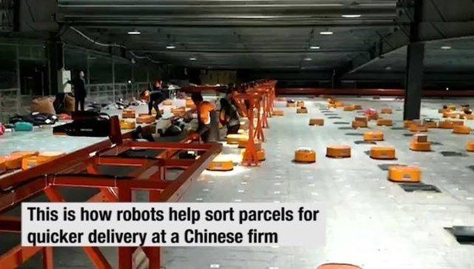 택배 분류를 로봇이 하는 중국 최대 택배회사