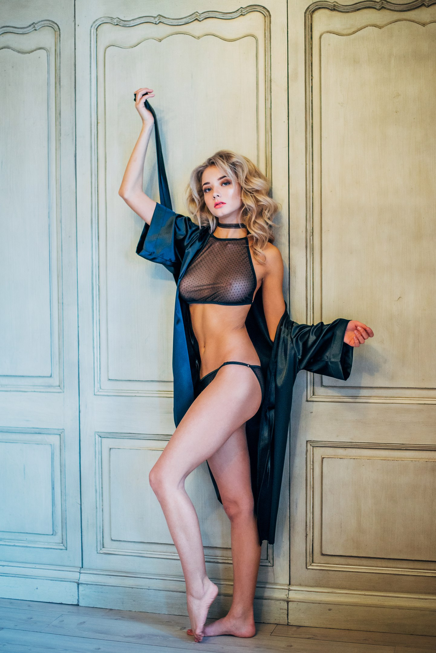 hot glamour wearing see through lingerie