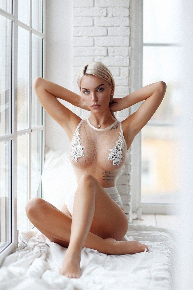 hot girl wearing see through lingerie